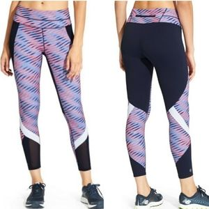 Athleta Navy Striped Electra Sonar Mesh Leggings